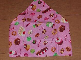 ハンドメイド 子供用三角巾 スイーツ柄 ピンク の画像