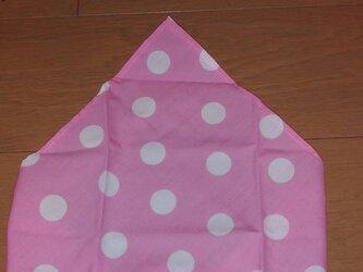 ハンドメイド 子供用三角巾 ドット柄 ピンク の画像
