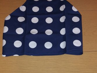 ハンドメイド 子供用三角巾 ドット柄 紺 の画像