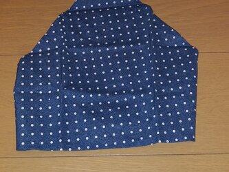 ハンドメイド 子供用三角巾 デニム調ドット柄   の画像