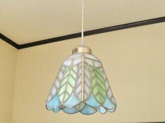 ステンドグラスペンダントライト・リーフ(葉っぱの模様A)天井のおしゃれガラス照明 Lサイズ・31の画像
