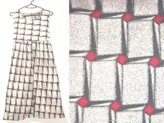 着物リメイク♪モザイク模様銘仙チュニックワンピース♪ハンドメイド・モザイク模様・正絹・アールデコの画像
