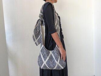 木版プリント×リネンミックス|長さ調節自在。幾何学紋様の3way ショルダーバッグ。の画像