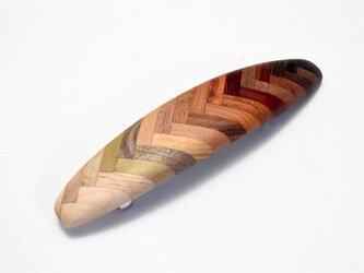 【寄木】手作り木製バレッタ(長) クロムメッキ金具の画像