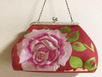 がまぐちバッグ・角型口金  大輪の薔薇の帯地バッグの画像