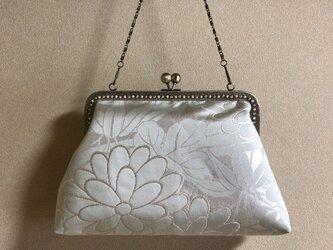 がまぐちバッグ・銀箔に淡いペパーミントグリーン花柄の画像