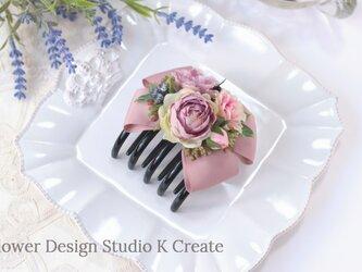 ピンクローズのバンスサイドクリップ  リボン ピンク 結婚式 ヘアクリップ 髪飾り バラ おでかけの画像