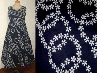 sold Out浴衣リメイク★桜がレースのような素敵な浴衣チュニックワンピース裾変形★ハンドメイド・藍染めの画像