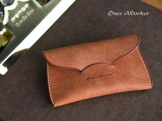 プエブロ【コニャック】スリムな手縫いカードケース 名刺も入るコンパクトサイズの画像