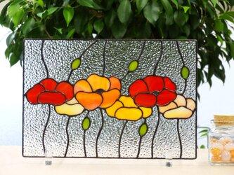 ビタミンカラーのお花☆ステンドグラスの画像