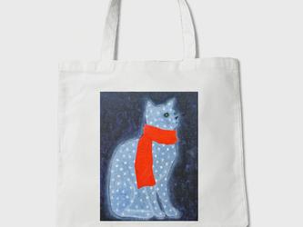 キャンバストートバック【赤いマフラー巻いた猫】の画像