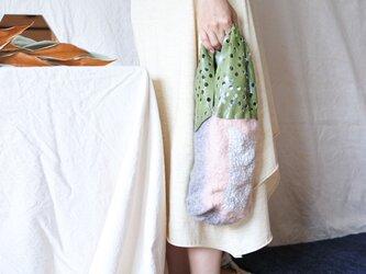bag 【peanuts】〜feltと革のミニバッグ〜 ピンク×グレーの画像