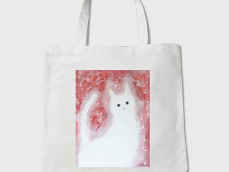 キャンバストートバック【可愛げな白猫】の画像