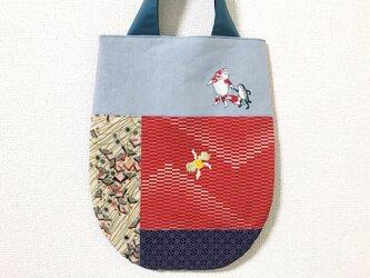 浮世絵刺繍バッグ*歌川国芳「金魚づくし・ぼんぼん」の金魚と蛙の画像