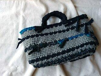 麻と裂き布バッグ#1*ピーコックボーダーの画像