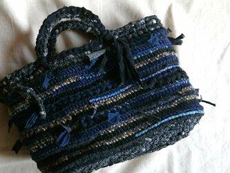 麻と裂き布バッグ#2*レイヤーの画像