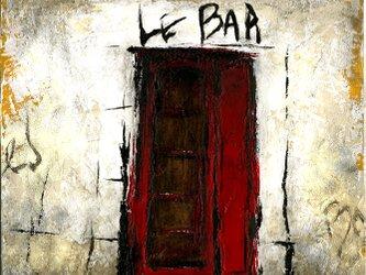 風景画 パリ 油絵「路地裏の赤い扉のBAR」の画像
