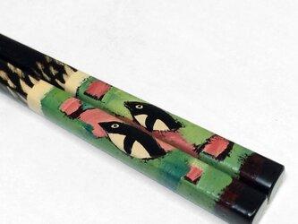 漆のお箸「penguin」(緑)の画像