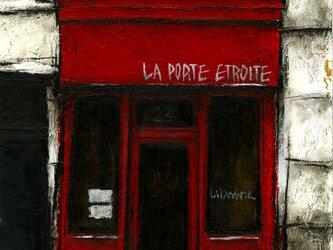 風景画 パリ 油絵「街の小さな本屋」の画像