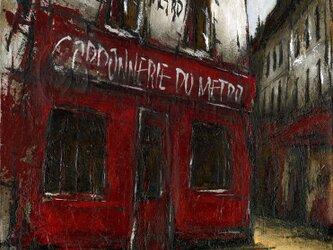 風景画 パリ 油絵「街角の靴屋」の画像