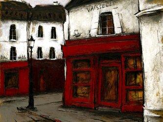 風景画 パリ 油絵「街角の小さな雑貨屋」の画像