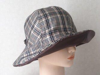 魅せる帽子☆飾りベルト付きレインハット~チェック&ブラウンの画像