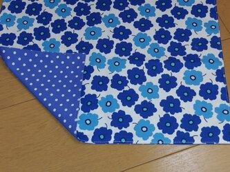ハンドメイド 大きめランチョンマット 花柄 青      の画像