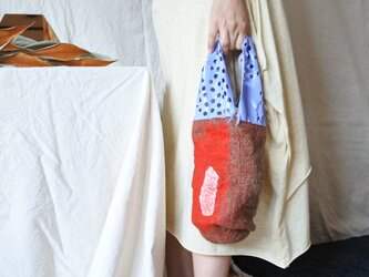 bag 【peanuts】〜feltと革のミニバッグ〜 スカイブルー×レッドの画像