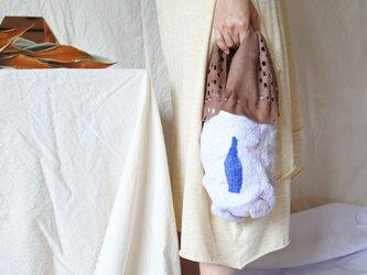 bag 【peanuts】〜feltと革のミニバッグ〜 ブラウン×ホワイトの画像