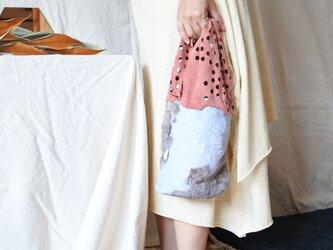 bag 【peanuts】〜feltと革のミニバッグ〜 レッドブラウン×ライトブルーの画像