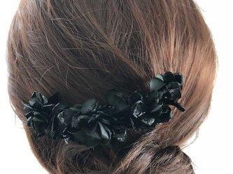 シックな黒い紫陽花のヘアコーム髪飾りプリザーブドフラワーの画像