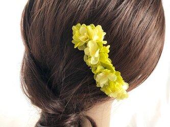 イエローグリーン紫陽花のヘアコーム髪飾り/プリザーブドフラワーの画像