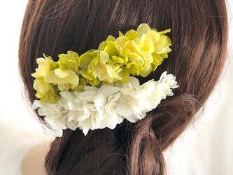 イエローグリーンと白い紫陽花ヘアコーム【2点セット】髪飾りプリザーブドフラワーの画像