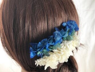 ブルーグリーンと白い紫陽花ヘアコーム【2点セット】髪飾りプリザーブドフラワーの画像