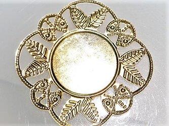 【アクセサリートップ】ゴールド円透かし飾枠あり10個入り(ゴールド)の画像