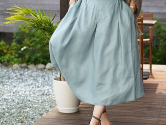 【wafu】中厚 リネン スカート ダブルの技法 タックとダーツ スカート ミモレ丈 / スカイミント s019a-skm2の画像
