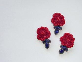 薔薇*深紅 ビーズ刺繍ブローチの画像