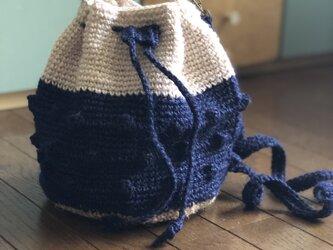 麻の丸底巾着バッグの画像
