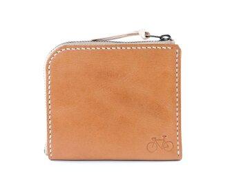 L字ファスナーのポケット財布(ナチュラル)の画像