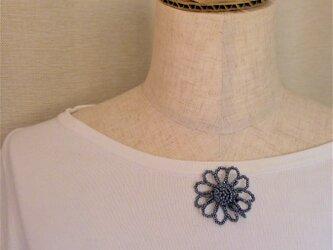 ビーズブローチ 花 銀古美色の画像