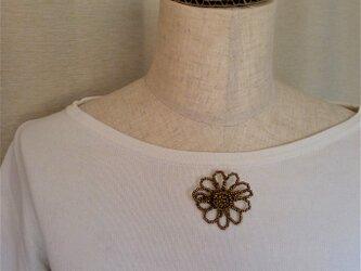 ビーズブローチ 花 銅古美色の画像