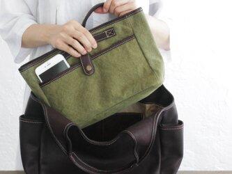 帆布とレザーのバッグinバッグ インナーバッグ (グリーン)の画像