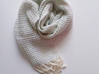 UV防止 手織りシルクコットンミニストール レース織り 925の画像