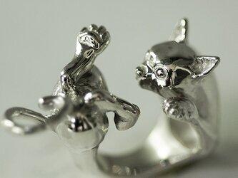 抱っこから逃げたがる猫のリング【送料無料】抱っこされてるけど本当は好きじゃない…ちょっと嫌がる姿が可愛い猫の指輪ですの画像