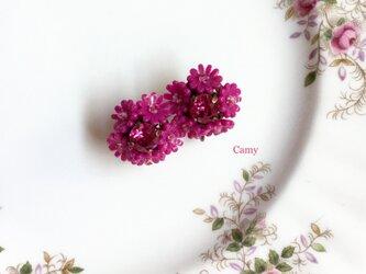 ヴィンテージ風フラワーイヤリング・ピアス ローズピンクの画像