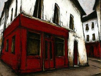 風景画 パリ 油絵「通りの赤いカフェ」の画像