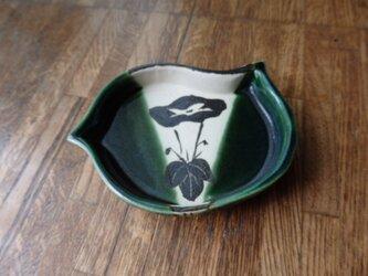 陶器 銘々皿① 織部焼 千鳥型 朝顔模様の画像