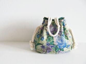 数量限定 新色! ボタニカル花柄リネンマリンバッグ ブルーグリーンの画像