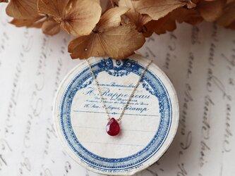 【K10】宝石質ルビーの一粒ネックレス(ファセットカット)の画像