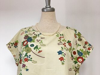 シルク フレンチ袖ブラウス M 着物リメイクの画像